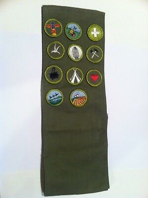 Boy Scout Vintage Merit Badge Sash With 11 Patches
