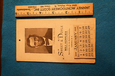 Antique Advertising Calendar 1905 Lincoln Portrait Cohoes NY Sweet & Doyle