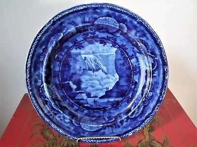 "Historical Staffordshire Dark Blue ""fall Of Montmorenci Near Quebec"" Enoch Wood"