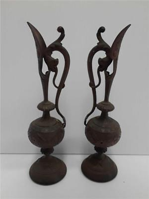 Pair of Victorian Bronze Colored Ewers / Pitchers