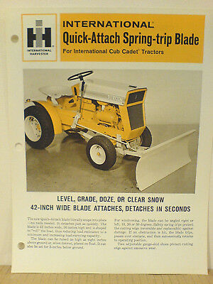 "Cub Cadet Tractor  42"" Spring Trip Blade Brochure   *nice New Condition*."