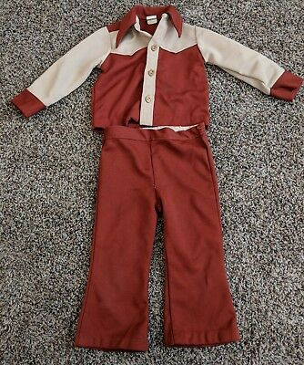 Vintage 1970s toddler Boys suit size 3T jacket and pants disco pant suit.
