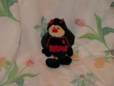 Russ Bangles Black and Red Bee Plush Stuffed Heart Antennae Valentines Day