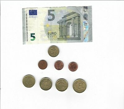 Authentic 5 Euro Bank Note Bill + Coins