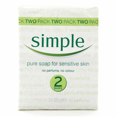 SIMPLE SENSITIVE SOAP BAR 2 PACK PURE CLEAR SKIN FRAGRANCE FREE NO PERFUME 125g