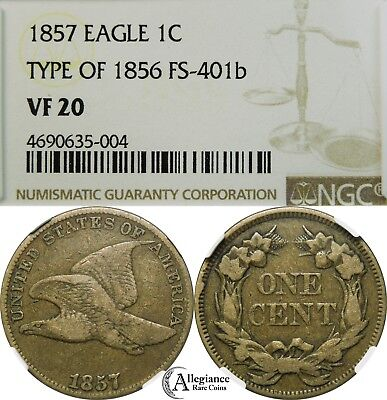 1857 Flying Eagle Cent NGC VF20 FS-401b Obverse of 1856 rare old type coin penny