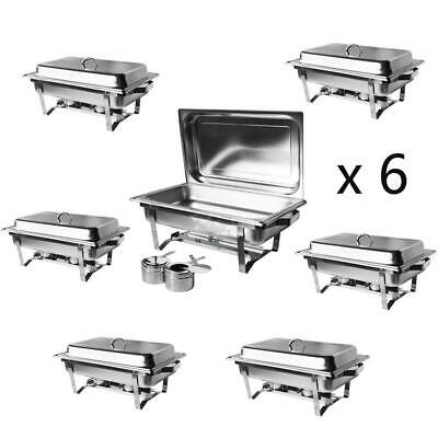 6 Pack Catering Stainless Steel Chafer Chafing Dish Sets 8QT Full Size Buffet