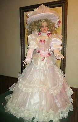 Rustie  42 Inch Victorian Porcelain Doll Called Echo  With Stand