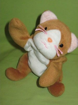 RARE 1993 Ty BEANIE BABIES BABY Plush Toy NIP THE CAT Gold White Belly OLD FACE