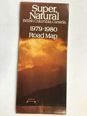 1979-1980  British Columbia highway province official  road  map Canada