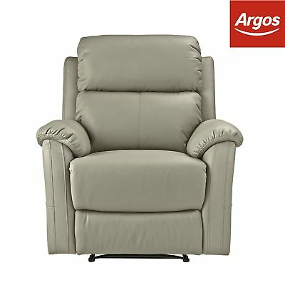 Argos Home Tyler Leather Effect Recliner Chair - Grey