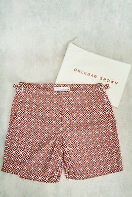 d4a31bf420 DROP93 - NWT Orlebar Brown Red Mid Length Marshall Swim Shorts Size 28-38 (