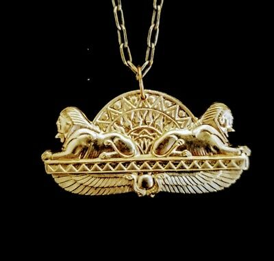 Vintage 1930s Rare Sphinx Winged Scarabs Lotus Egyptian Revival Necklace