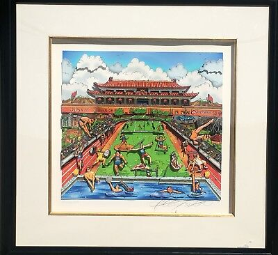 Charles Fazzino Serigraph 3D Olympic Games, Beijing 2008 Framed Deluxe Edition
