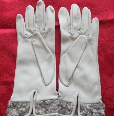 Quality NYLON & ASTRAKHAN GLOVES Made in West Germany Size 6-1/2 Never Worn