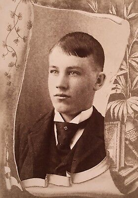1900's Handsome Young School Boy Man CABINET CARD PHOTO Collegeville Minnesota
