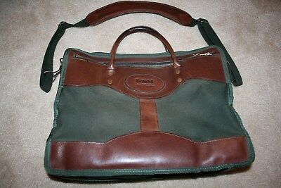 Vintage Green Canvas / Brown Leather Briefcase (similar to Orvis)