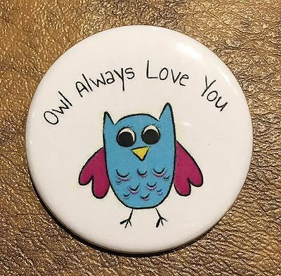 Owl Love Pin Button Magnet Valentine Funny Homemade Art Gift Decor Accessory