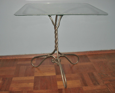 Antique French Wrought Iron & Glass Side Table Indoor or Patio Pierre Deux type