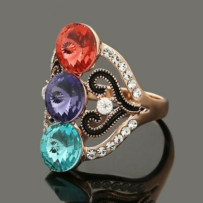 Fashion Silver Plated Women Crystal Wedding Bridal Lady Heart Ring Mother's Day