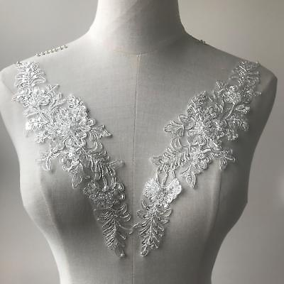 Bridal Corded Lace Applique Motif Fabric with Beads Sew on Wedding Dress 1 Pair