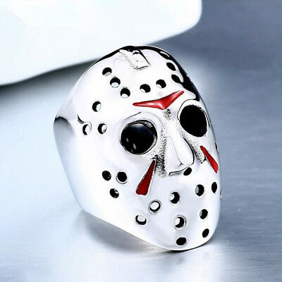 Silver Jason Mask Rock Men Fashion Punk Jewelry Skull Hip Hop Finger Ring Gift