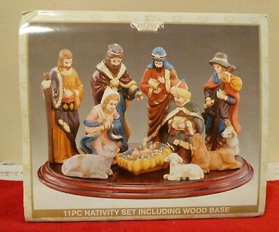 Crown Accents 11 Pc Nativity Set Including Wood Base World Bazaars Inc