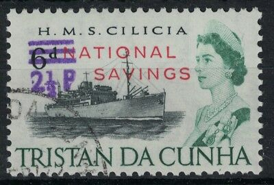 TRISTAN DA CUNHA, 1970, NATIONAL SAVINGS, 2 1/2p on 6d, SG F2, FINE USED.