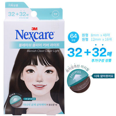 NEW 3M Nexcare Blemish Clear Cover lite Acne Pimple Cover Patch - 64 EA, 1 PACK