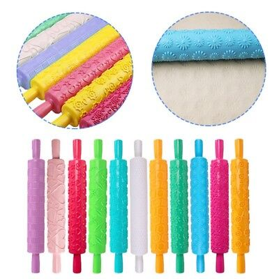 Embossed Rolling Pin Cake Fondant Textured Decorating Craft Tool 11 Patterned