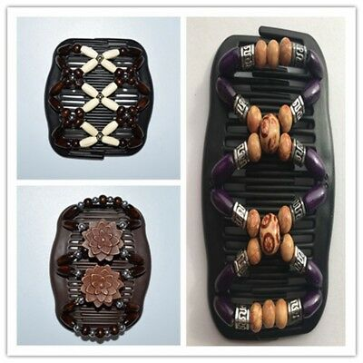 Magic Wood Double Beads Hair Comb Clip Stretchy Women Hair Accessories Easy New