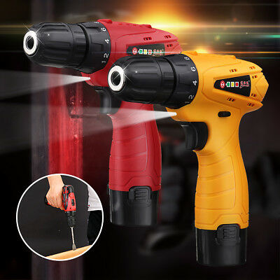 12V Cordless Rechargeable Drill Driver Electric Lithium-ion Screwdriver Tool Box