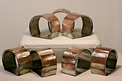 Vintage Mother Of Pearl Napkin Rings ! Set Of 7 ! No Reserve !