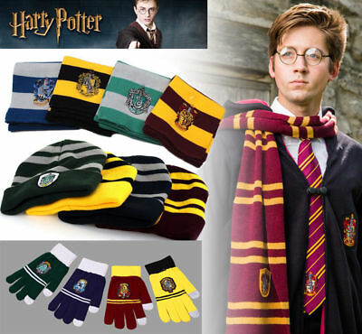 Harry Potter Scarf Hat Tie Glasses Gryffindor Slytherin Ravenclaw Hufflepuff Set