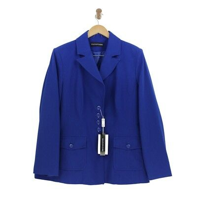 Ladies Womens Blue Blazer Jacket Smart Work Office Coat Collared Suit Size 22