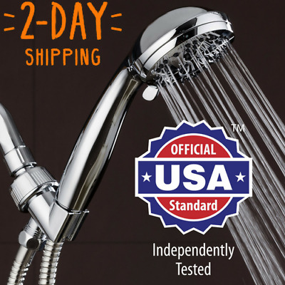 """Handheld Shower Head - High Pressure Chrome Face with Hose (6-Setting 3.5"""") NEW!"""