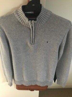 Boys Tommy Hilfiger Jumper size 7 Light Grey, 100% Cotton in very good cond