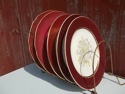 Vintage red and gold plates - AMC Germany, Century by Salem, & Homer Laughlin