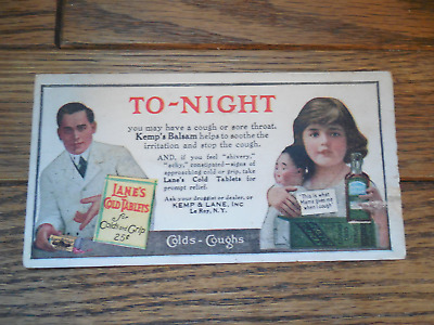 Blotter Kemp's Balsam Lane's Cold Tablets Colds & Grip Advertising Vintage
