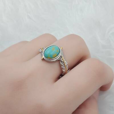 Turquoise Women Jewelry Silver Plated Ring Gemstone Wedding Feather Size 6-10