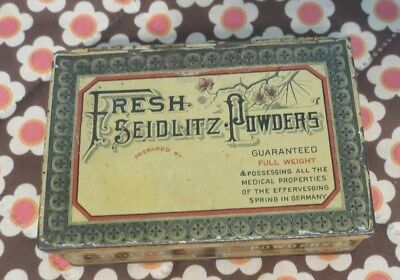 Antique Apothecary Fresh Seidlitz Powders Somers Bros. Litho Tin Laxative Box