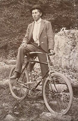 1900's Young Man On Bike Bicycle CABINET CARD PHOTO