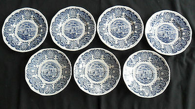 7 pcs. HISTORICAL PORTS OF ENGLAND BLUE & WHITE-4 BREAD & BUTTER & 3 SAUCERS
