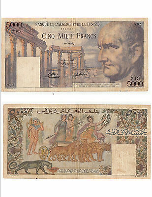 Ticket ALGERIA TUNISIA 5000 Francs 14-06-1950 condition see scan 885