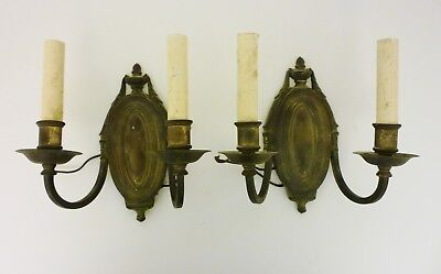 Vintage / Antique Pair of Brass Metal Electric Wall Sconces