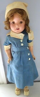 """Vintage 1940's All Composition 19"""" Nurse Doll Unmarked Likely Original Clothing"""