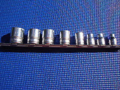 Snap On Sockets 3/8 Drive Fs Series 6 P0Int 8 Sizes Plus Rail Used Cond Chrome