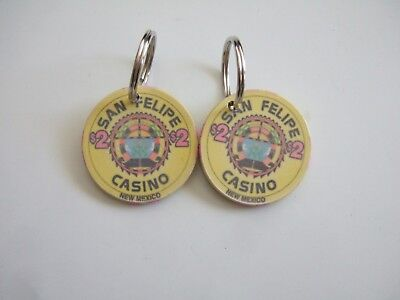 Vintage (2) San Felipe Nm Casino $2 Chip Keychain - Now Black Mesa Casino