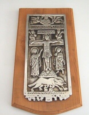 Rare Cast Metal Plaque On Wood Crucifixion Of Christ Latin Text Rambona Diptych