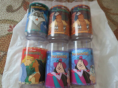 VNTG Disney Pocahontas Plastic Drinking Cups Glasses Set of 6 Burger King 1994
